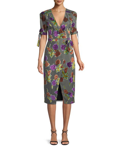 Saylor Floral Burnout Velvet Wrap Dress w/ Short Sleeves