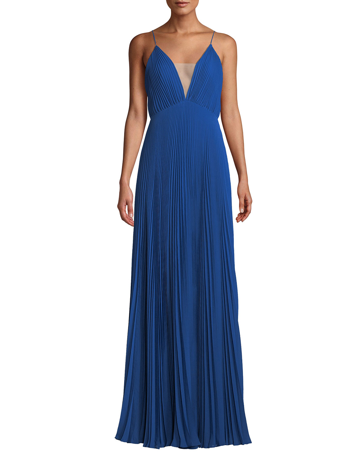 Veronika Pleated Sleeveless Gown