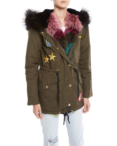 Superfreak Hooded Parka Coat w/ Fur Trim & Patches