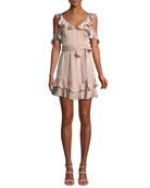 Donna Mizani Tatiana V-Neck Ruffles Tie-Belt Mini Dress