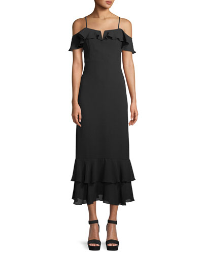 Siren Cold-Shoulder Sheath Midi Crepe Dress w/ Ruffled Frills