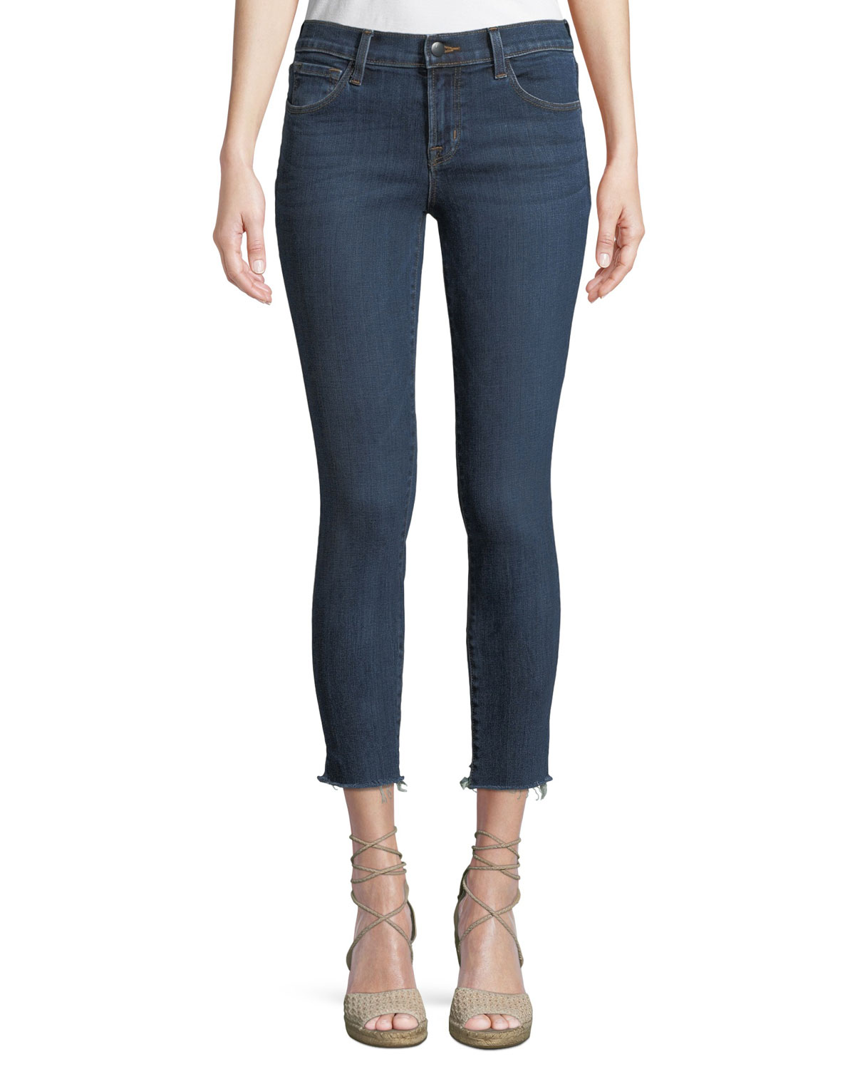 835 Mid-Rise Cropped Skinny Jeans with Cutoff Hem