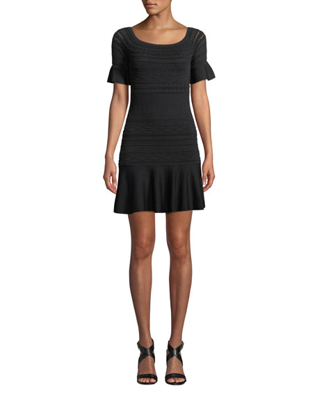 Alexis Maila Short-Sleeve Knit Flounce Dress