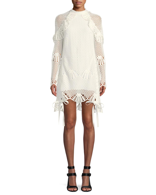 Crewneck Crochet Lace Short Tunic Dress