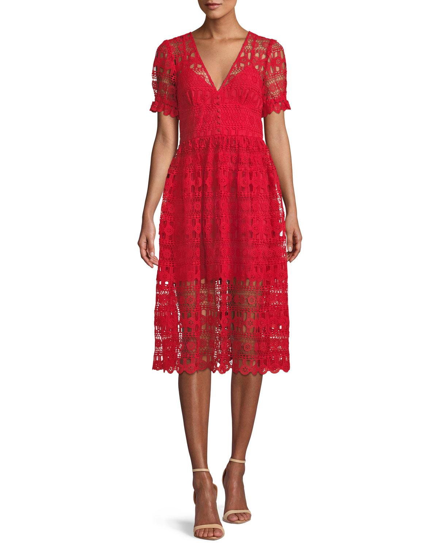 V-Neck Lace Midi Cocktail Dress