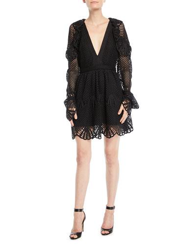 V-Neck Crochet Frill Mini Cocktail Dress