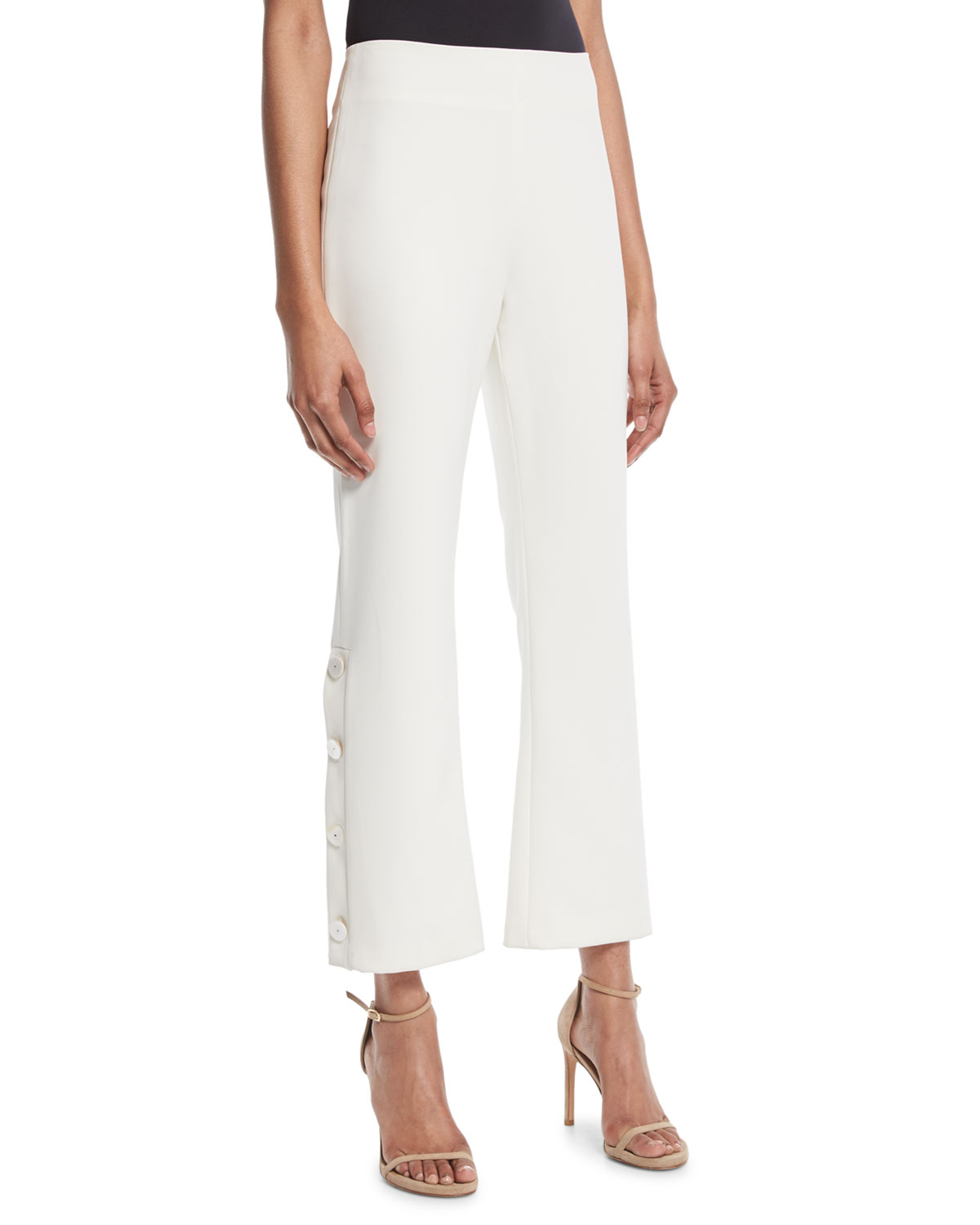 Larenz Flare-Leg Side-Button Cropped Pants