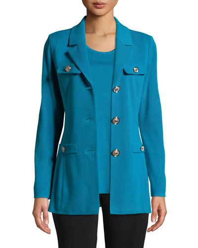 Dressed Up Button-Front Jacket, Peacock Blue
