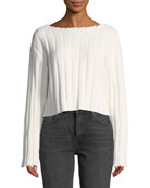 alexanderwang.t Raw-Edge Cropped Pullover Sweater