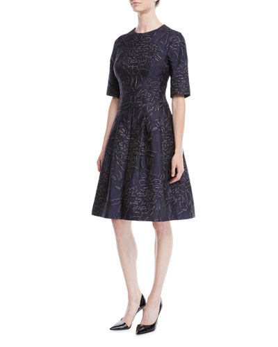 Elbow-Sleeve Floral-Jacquard Fit-and-Flare Cocktail Dress