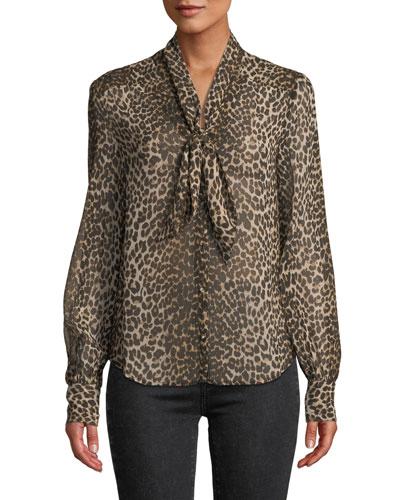 b2e1f877172917 Quick Look. PAIGE · Cleobelle Leopard-Print Tie-Neck Blouse