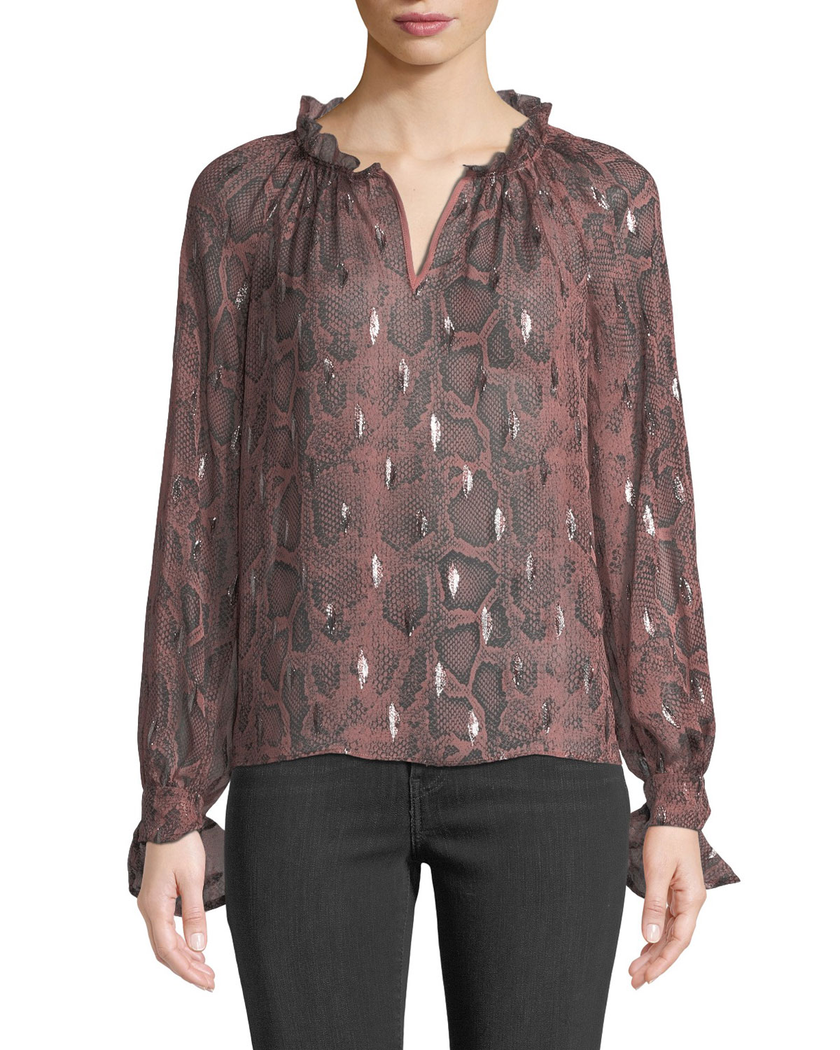 Long-Sleeve Metallic Snake-Print Blouse