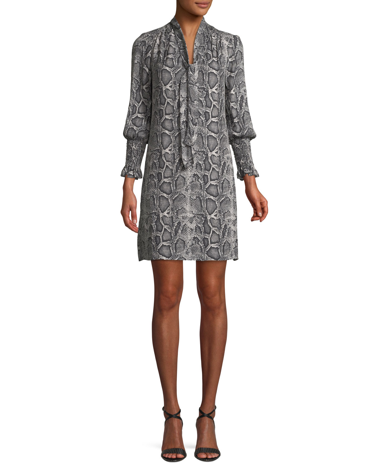 Snake-Print Tie-Neck Shift Dress