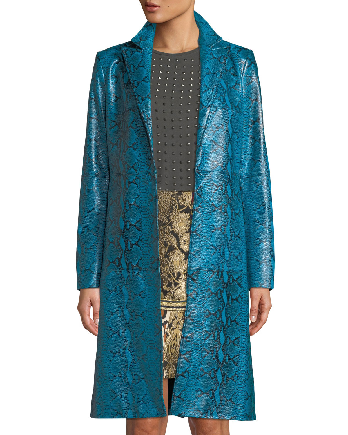 Logan Snake-Print Leather Coat