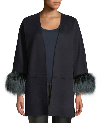 Luxury Double-Faced Cashmere Open-Front Swing Jacket with Fox Fur Cuffs