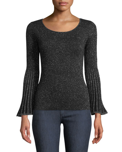 Ribbed Bell-Sleeve Metallic Cashmere Sweater