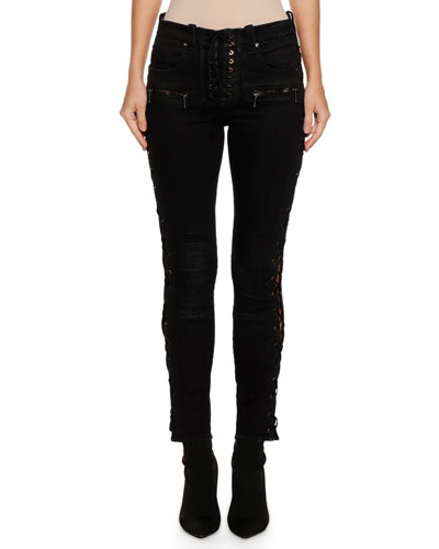 Lace-Up Waxed Denim Skinny Jeans