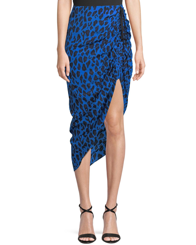 Ruched Leopard-Print Silk Pencil Skirt