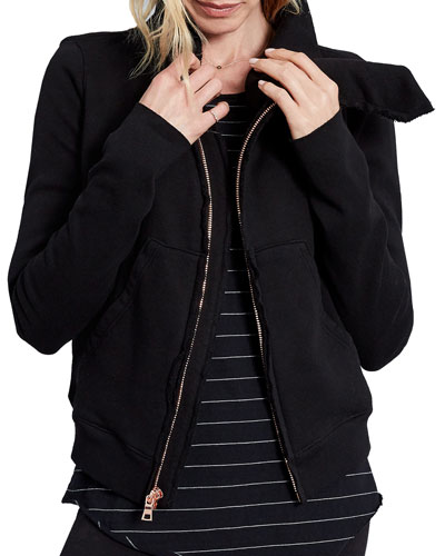 Frayed Zip-Front Fleece Jacket