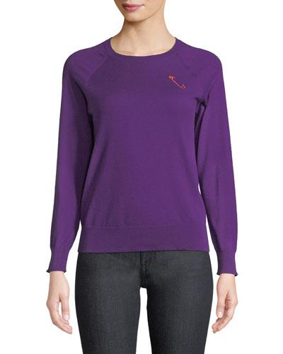 Safety-Pin Crewneck Raglan Cashmere-Cotton Pullover