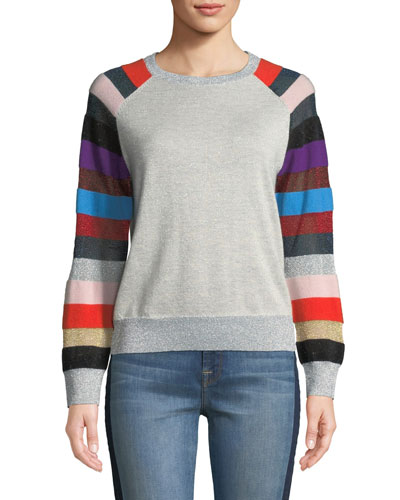 Metallic Cashmere Sweater with Multi-Stripe Sleeves