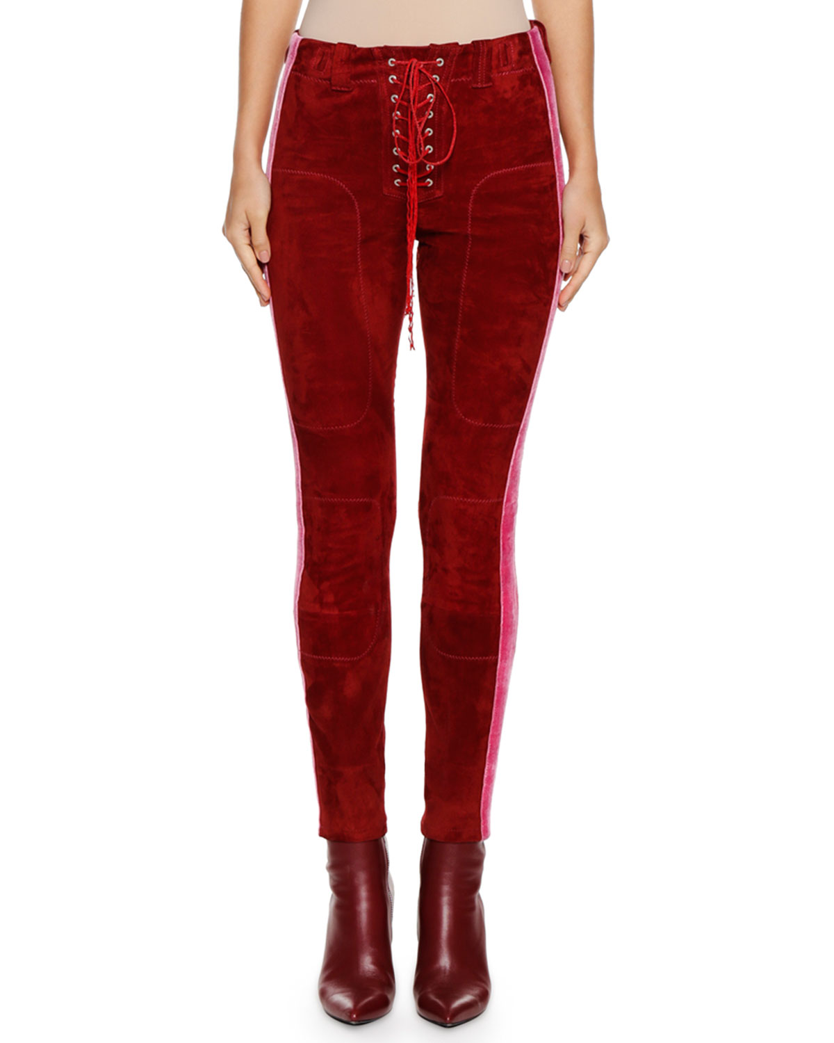 Lace-Up Side-Stripe Suede Football Pants in Red