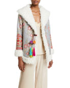 Johnny Was Quarda Embroidered Faux-Fur Coat