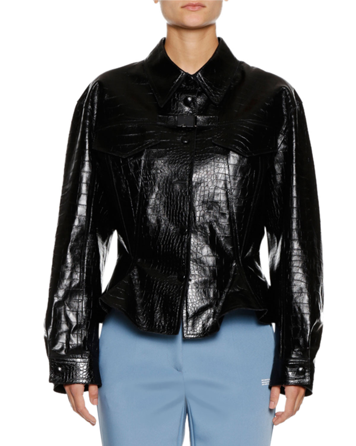 EMBOSSED LEATHER BUTTON-FRONT BIKER JACKET