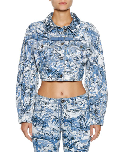 Tapestry Cropped Button-Front Jacket