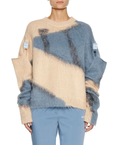 Colorblock Crewneck Wool-Mohair Sweater