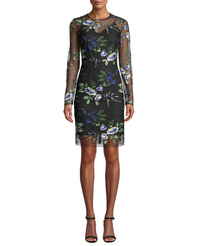 Floral-Embroidered Mesh Long-Sleeve Cocktail Dress