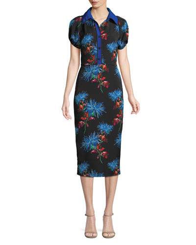 Elly Floral Short-Sleeve Midi Polo Dress
