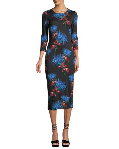 Saihanna Floral-Print Silk Midi Dress