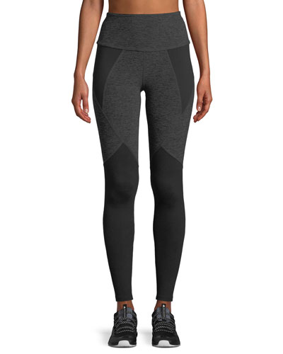 High-Waist Space-Dye Paneled Full-Length Leggings