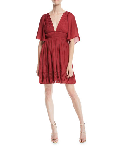 Flowy Mini Dress w/ Capelet & Pleating