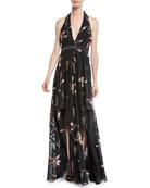 Halston Heritage Floral Burnout Gown w/ Double-Slit Front