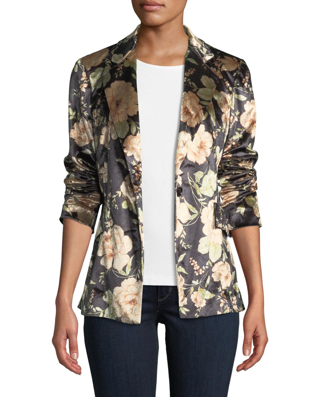 ANATOMIE Primrose Floral-Print Velvet Jacket in Floral Print Velv