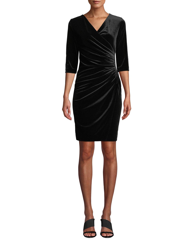 ANATOMIE Marine Velvet Wrap Dress in Black