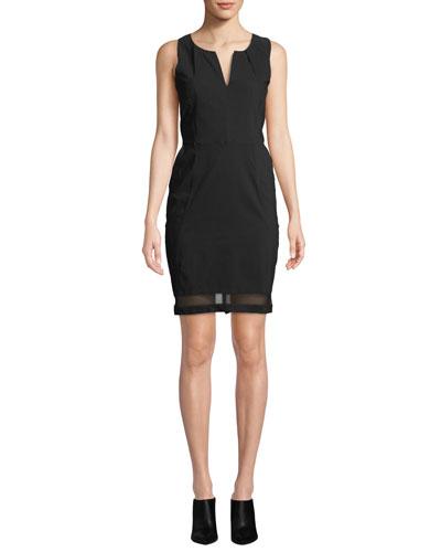 Michelle Slim-Fit Sleeveless Dress w/ Mesh Inserts