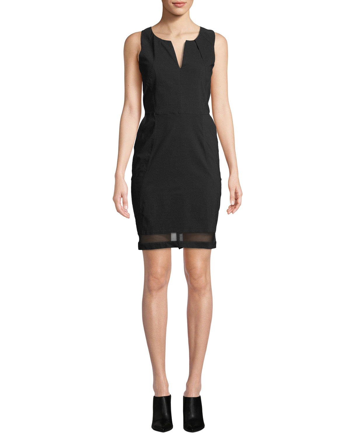 ANATOMIE Michelle Slim-Fit Sleeveless Dress W/ Mesh Inserts in Black