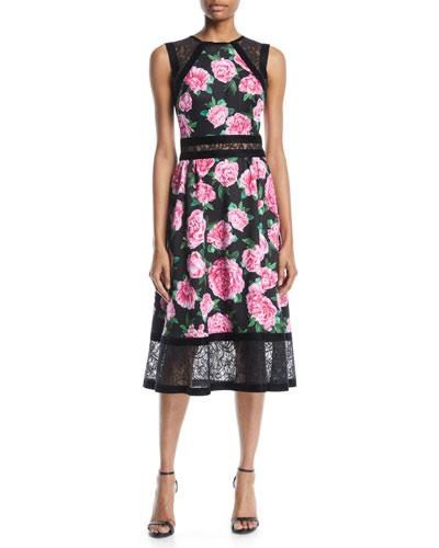 Floral-Print Neoprene Midi Dress w/ Lace Details