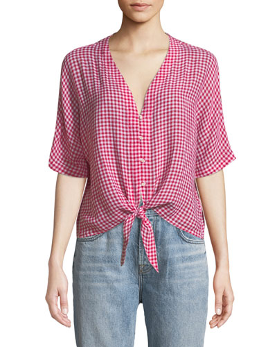 Thea V-Neck Button-Front Gingham Linen-Blend Top w/ Tie Hem