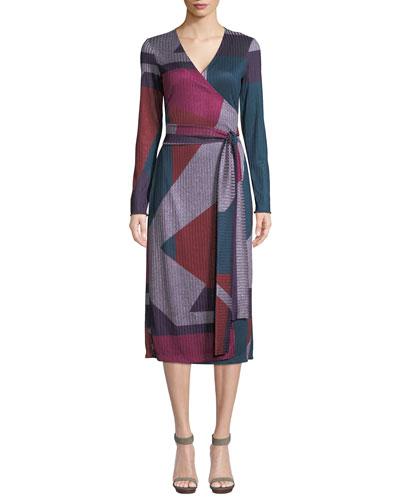 Ellie Colorblock Long-Sleeve Wrap Dress