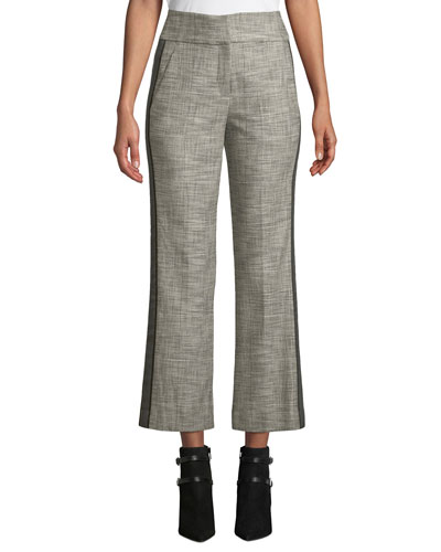 Cormac Plaid Cropped Trousers with Tuxedo Stripes