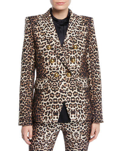 Quick Look. Veronica Beard · Miller Double-Breasted Leopard-Print Jacket a43daeef5