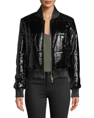 Malin Quilted Zip-Front Bomber Jacket