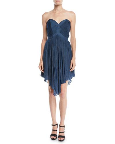 Strapless Pleated Mini Dress w/ Asymmetric Hem