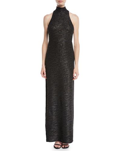 Metallic Knit Gown w/ Mock Neck
