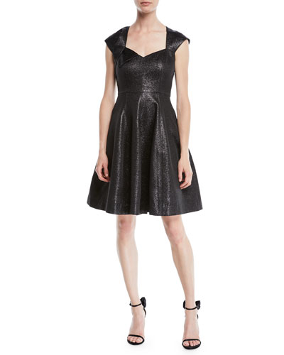 3fa8b5fb297ea Quick Look. Halston Heritage · Structured Metallic Cap-Sleeve Dress.  Available in Black
