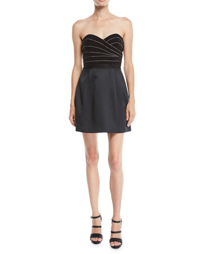 Strapless Mini Cocktail Dress w/ Chain Piping